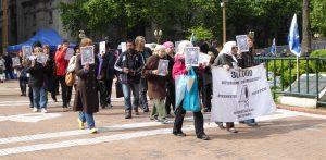 protestors walking