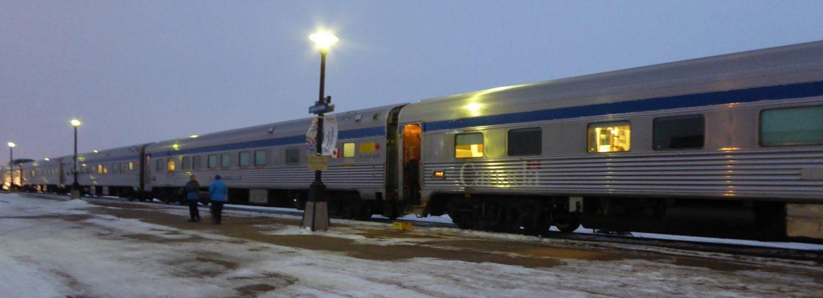 Via Rail train in the dark
