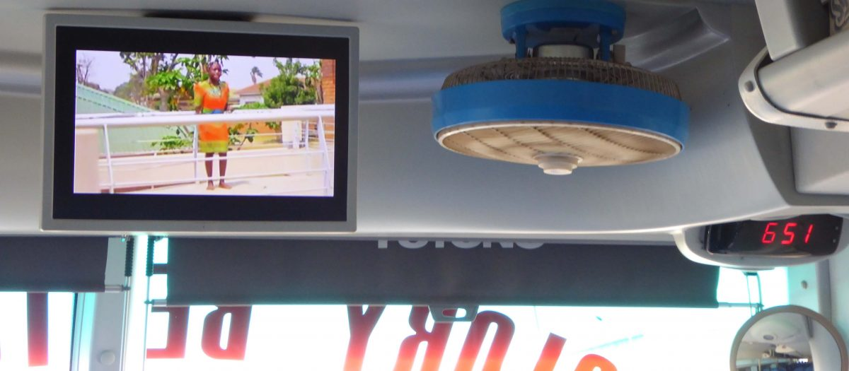 video screen on bus